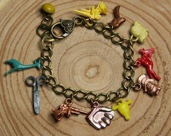 Found Object CHARM BRACELET- Gumball Charms- ART- Trinkets- Cracker Jack Charm