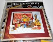 Tea Party Design Works Counted Cross Stitch Kit  NEW OLD STOCK Teddy Bear Giraffe Monkey