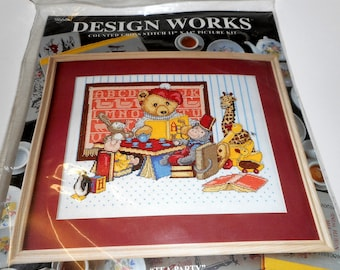Tea Party Design Works Counted Cross Stitch Kit  NEW OLD STOCK Teddy Bear Giraffe Monkey