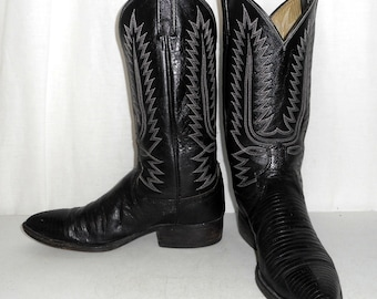 Black Lizard Boots Mens size 8.5 D / womens 10 Dan Post Vintage Western Wear