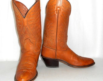Mens 8 D Cowboy Boots Acme Brand Tan Brown Womens size 9.5 Western Rockabilly Country