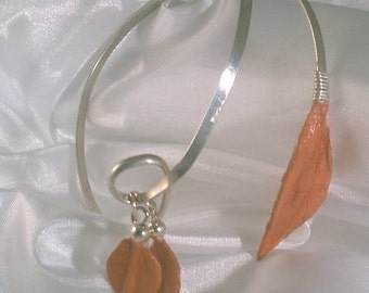 Coral handmade paper leaves with Fine Silver filled wrap bracelet