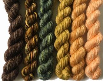 Sock yarn mini skein set, 150 yds, 5g each, hand dyed