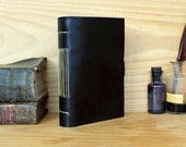 Simple Leather Journal, Classic Black Leather, Antiqued Pages