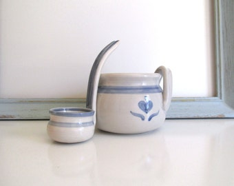 Handmade Pottery Salsa Bowl or Gravy Boat with Matching Ladle Vintage 1990's