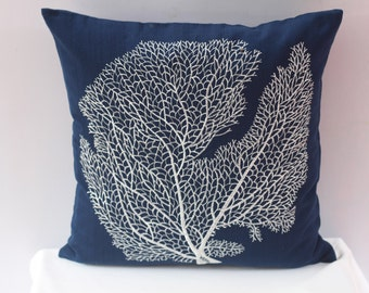 Navy blue costal pillow. white coral fan embroidery on navy pillow. Navy blue  beach pillow. 18inch custom made
