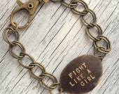 FIGHT LIKE A GIRL Stamped Metal Pendant with Brass Chain Bracelet