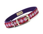 SALE - red and purple diamonds metal buckle dog or cat collar (1/2 inch)