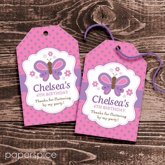 Personalized Butterfly Party Favor Tags DIY Printable Hang