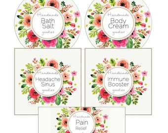 2 inch Circle Square Soft Watercolor Floral Pink Essential Oil Labels Blank Labels for Glass Jars 10 ml 15 ml Rollers