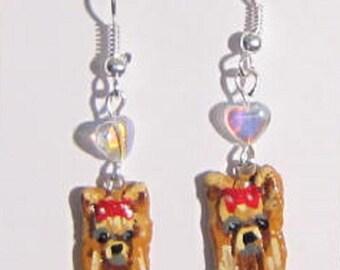 Handpainted YORKSHIRE TERRIER Sculpted Clay Earrings choose bead color