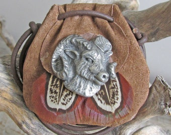Ram Bighorn Sheep Spirit Animal Amulet, Tribal Power Animal Totem Medicine Bag