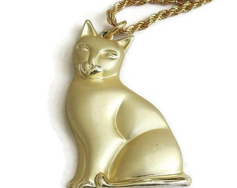 Vintage signed MONET Kitty Cat Pendant Necklace