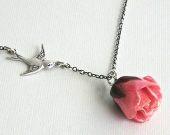 Pink Real Rosebud Necklace - Natural Preserved, Bird Necklace, Sterling Silver, Flower Jewelry