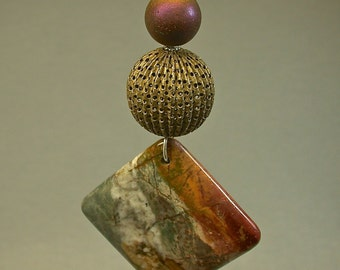 Vintage Orange Brecciated Square Bead Jasper FAN LIGHT Pull ,Chinese Purple Iridescent Glass Bead,Vintage Brass Tea Strainer Bead