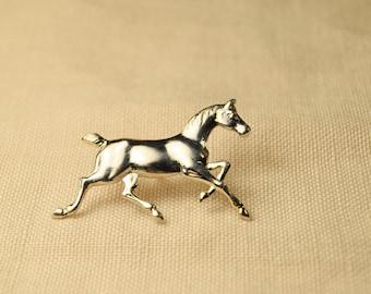 Silver Running Horse Pin