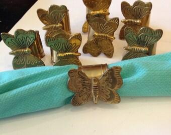 Set of 8 Brass Butterfly Napkin Rings