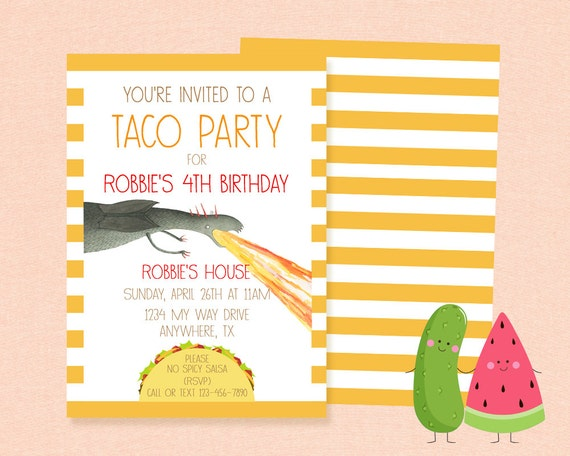 Inspired Dragons Love Tacos Invitation Birthday Party – Invite to a Party