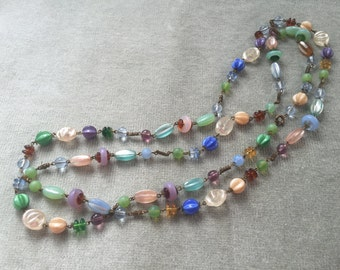 Multicolor Iridescent, Clear and Frosted Czech Glass wired flapper beads/ 1920s