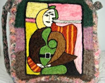 Felted purse, felted handbag, Picasso art, Picasso painting, needle felt purse
