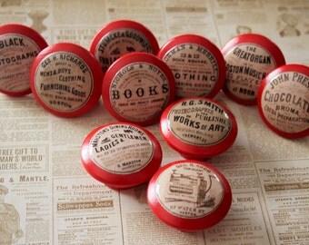 Vintage Knobs  10 pc set Door Pulls in RED