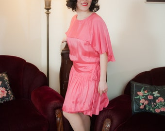 Vintage 1920s Dress - Gleaming Shocking Pink Silk 20s Dress with Drop Waist and Attached Capelet