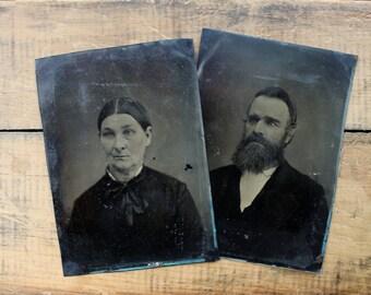 Tin Type Couple, Half Sheet Tin types, Victorian Era Family Portraits, Halloween Decor, Hipster Beard Photograph, Tintypes