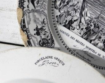Antique French Porcelain Transferware, Napoleon Commemorative Plates, Gien Creamware c.1841