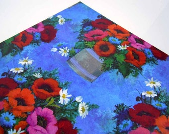 1980s All Occasions Wrapping Paper Blue Purple Red Pink Floral Gift Wrap