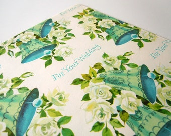 Vintage 1970's Wedding Wrapping Paper   Blue Floral Gift Wrap Paper   Wedding Bells Gift Wrap