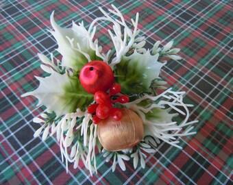 Vintage 1970s Kitsch Christmas Flower Pick Plastic Bulbs Holly