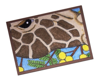 ACEO Giraffe w Acacia Flowers, Artist Trading Card, ATC, Hand Colored, Coloring Page, Illustration, Original, OOAK, One of a Kind