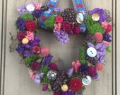 Small heart Handmade colorful spring dried flower garden wreath with vintage buttons and ribbon. Made and ready to ship. For your Valentine.