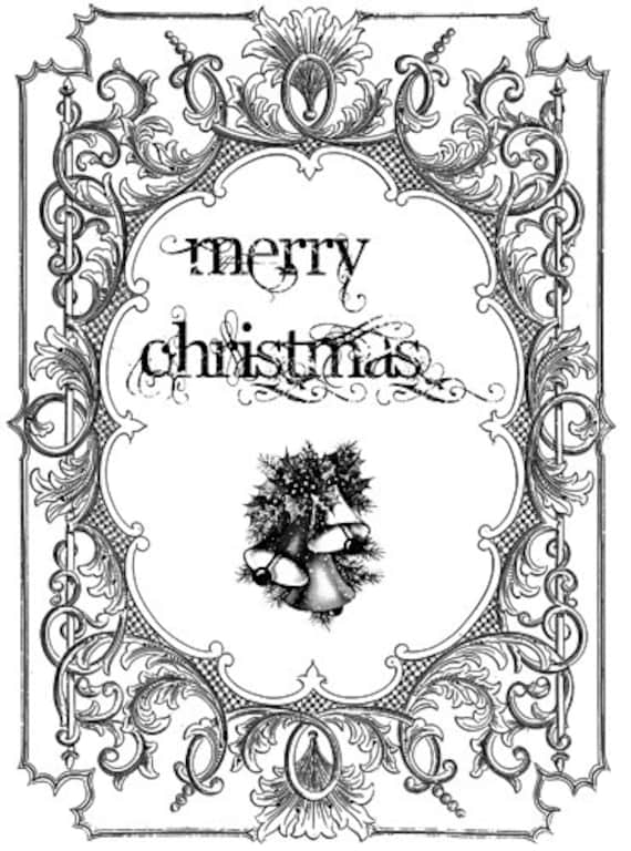 """merry christmas frame bells png typography words text clip art Digital graphics Image Download digital stamp printable art 6.9"""" x 8.9"""""""