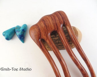 Phoenix Embrace Hair Fork,Hair Forks,Wood Hair Sticks,Hairforks,Bubinga Wood Hairfork Grahtoe Studio,Mothers Day Gift,Man Bun,Hairstick