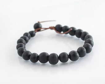 Stackable Bracelet - Natural Bracelet - Black Acai Bead Leather Bracelet - Eco Friendly Organic Jewelry - Teen Gift Idea - Womens Bracelet
