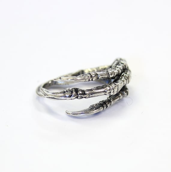 Solid Sterling Silver Raven Claw Ring Bird Talon Crow Unisex 002