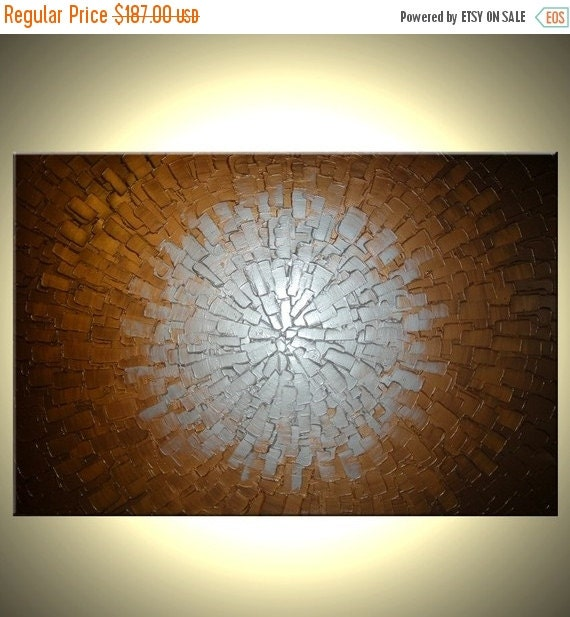 Abstract Original Painting, Metallic Silver, Bronze Textured Art by Lafferty - 24 X 36 Sale 22% Off Sale