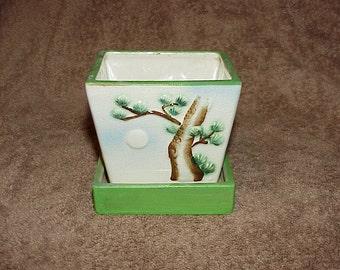 Vintage--BONSAI Pot--Glazed--Planter--With Bonsai Tree Design--Made In Japan