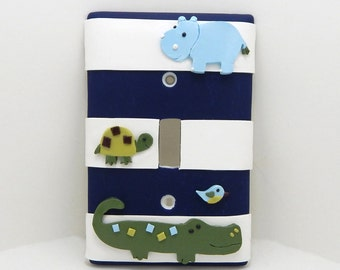Alligator, Hippo, Turtle Light Switch or Outlet Cover - Blue, Green, White - Children's Nursery Decor - Rocker Cover, Toggle Cover