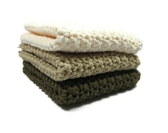 Chocolate Pie Crochet Cotton Dish Cloth Wash Cloth Set of Three