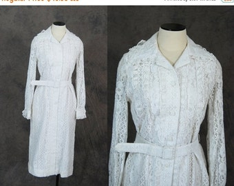 48 Hr SALE vintage 60s Dress - 1960s White Lace Shift Dress Shirt Dress Sz M