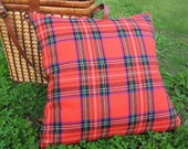 Red Tartan Pillow Covers, Country Cabin Pillows, Stuart, Stewart Plaid Cushion Cover, Country Lodge Decor, 18x18, 45x45 cm