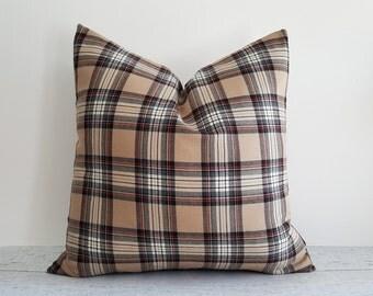 Tan Plaid Pillow, Brown Black Cream Pillow Cover, Wool Plaid Pillow, Cabin Pillows, Tan Textured Pillows, Winter Home Decor, 18x18