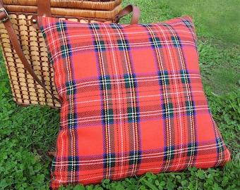 Red Tartan Pillow Covers, Red Cabin Pillows, Stuart, Stewart Plaid Cushion Cover,  Lodge Decor, 18x18, Handmade by PillowThrowDecor