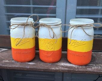 Candy Corn Quart Size MAson Jar Set... #Fall, #Halloween