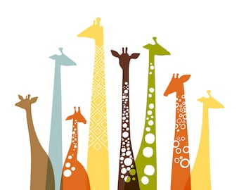"""16X20"""" giraffes landscape format giclee print on fine art paper. natural tones: yellow, orange , tan, brown and olive green."""