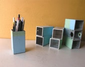 Metal Pencil Cup, Pencil Holder, Square Utensil Holder, Desktop Accessory, Pen Holder, Coworker Gift, Industrial Style, Bathroom Organizer