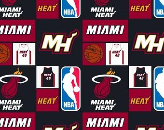 "Miami Heat NBA Cotton Fabric 36"" x 38"""