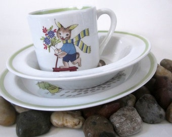Porcelain Baby Dish Bowl Arabia Finland Child Plate Vintage Cup Glass Heavy Rabbit Fox Squirrel Ring